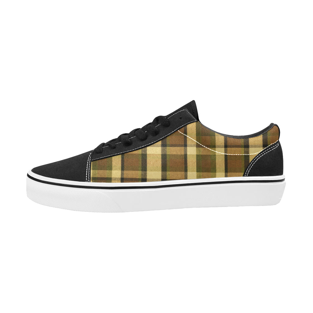 Westy Brown Plaid Men's Low Top Skateboarding Shoes