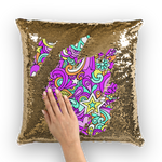 Peace Doodles Sequin Cushion Cover