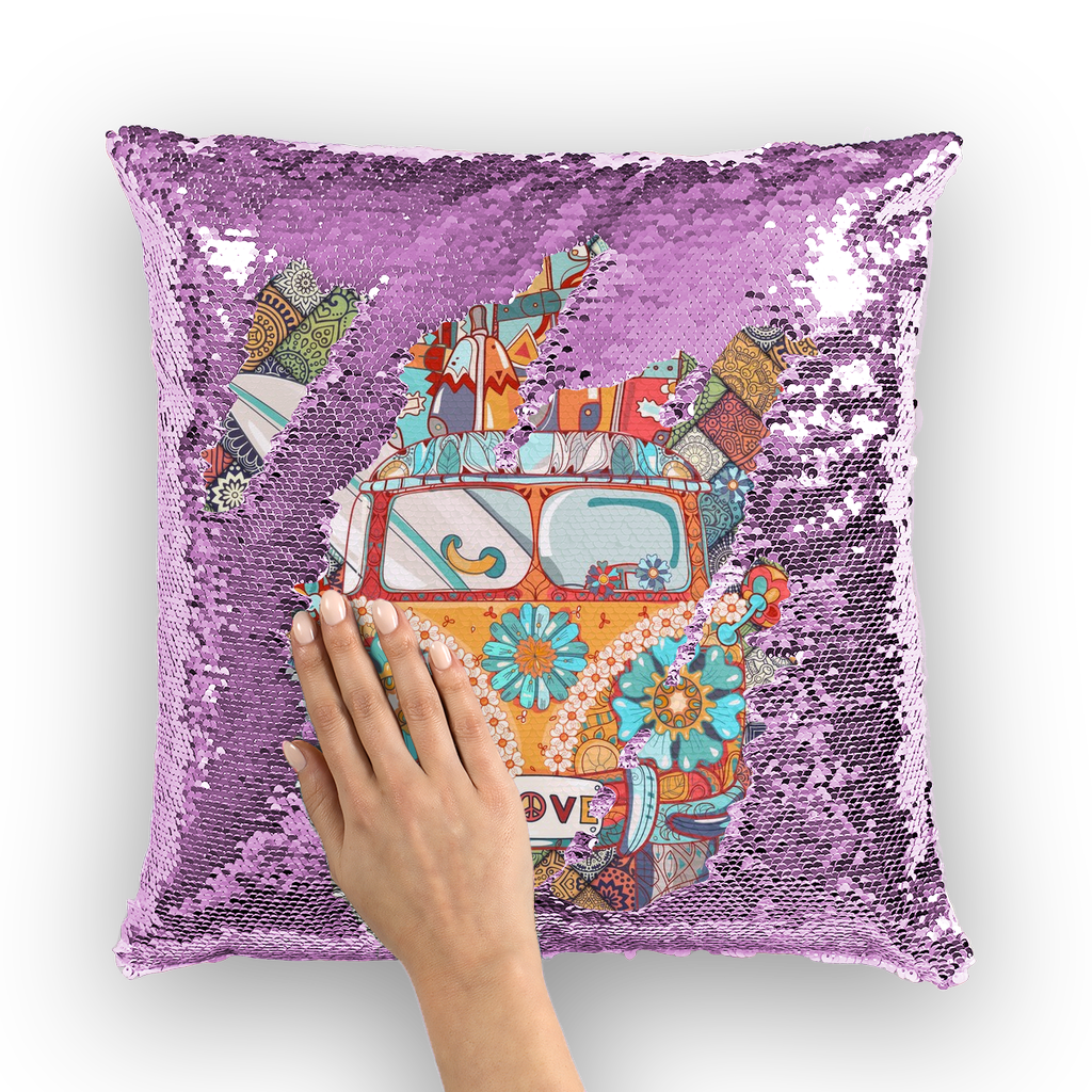 Peace and Love Bus Sequin Pillow Cover