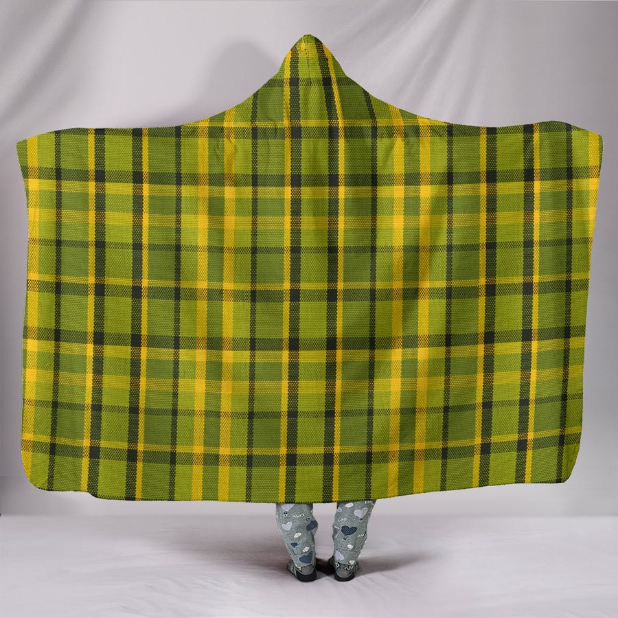 Retro Green Plaid Hooded Blanket