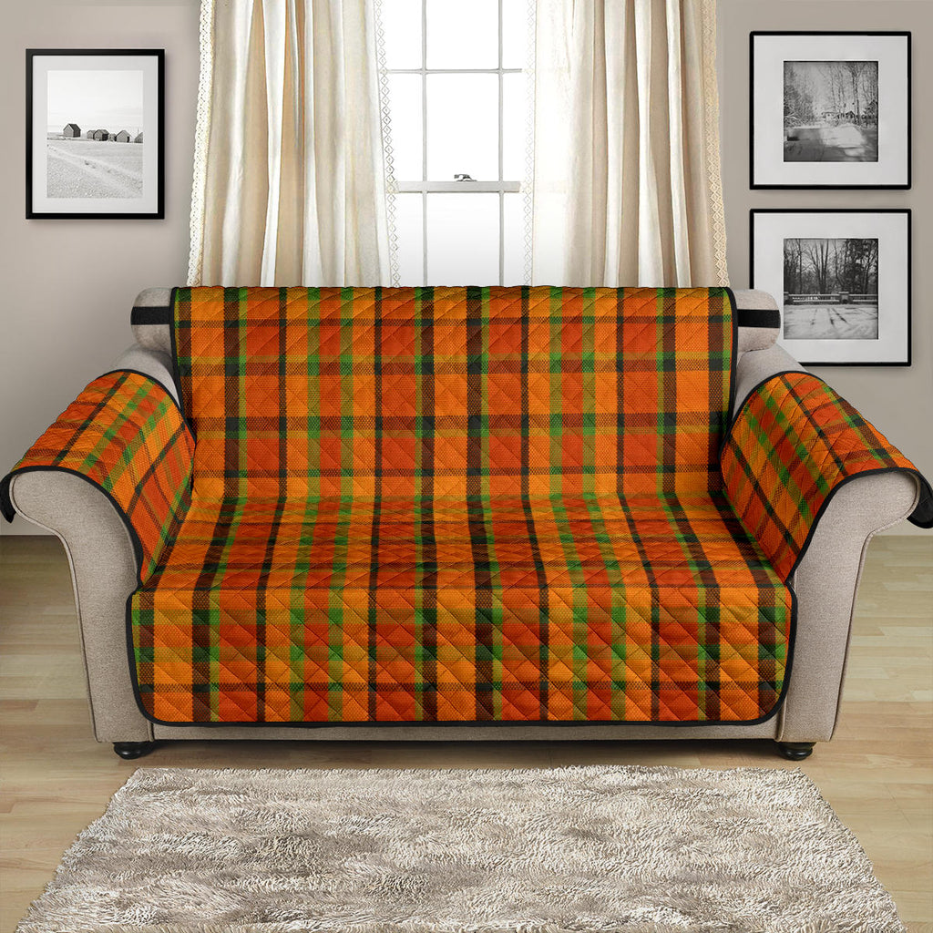 Orange Plaid Couch Cover
