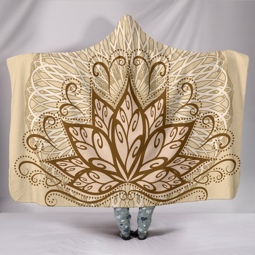 Ornamental Lotus Hooded Blanket