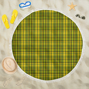 Retro Green Plaid Beach Blanket