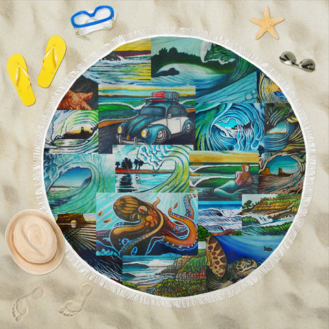 Art Collage Beach Blanket