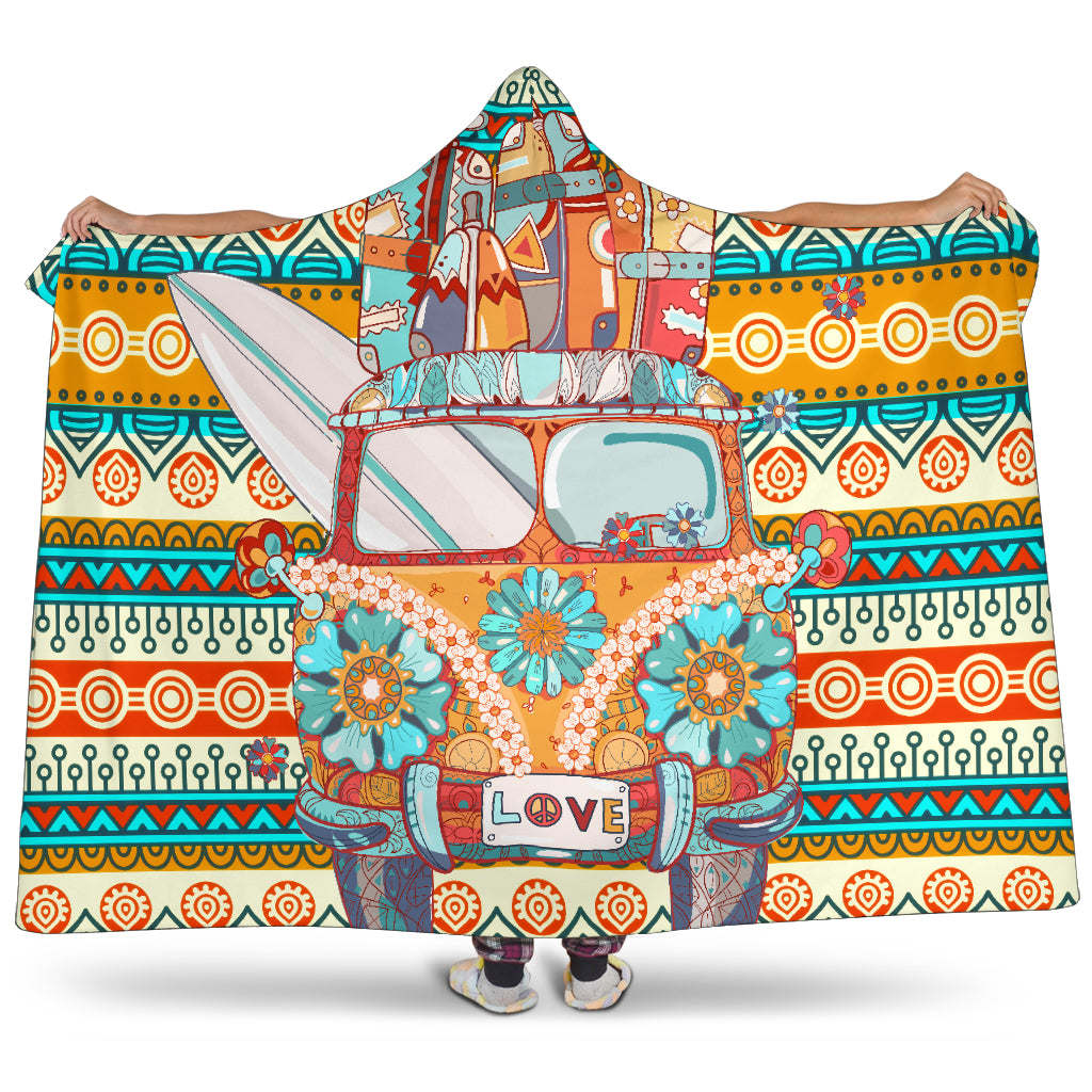Tiki Love Bus Hooded Blanket