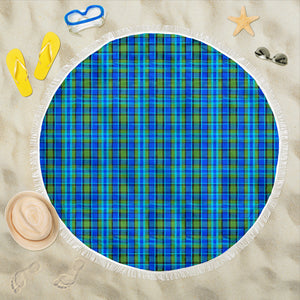 Retro Blue Plaid Beach Blanket