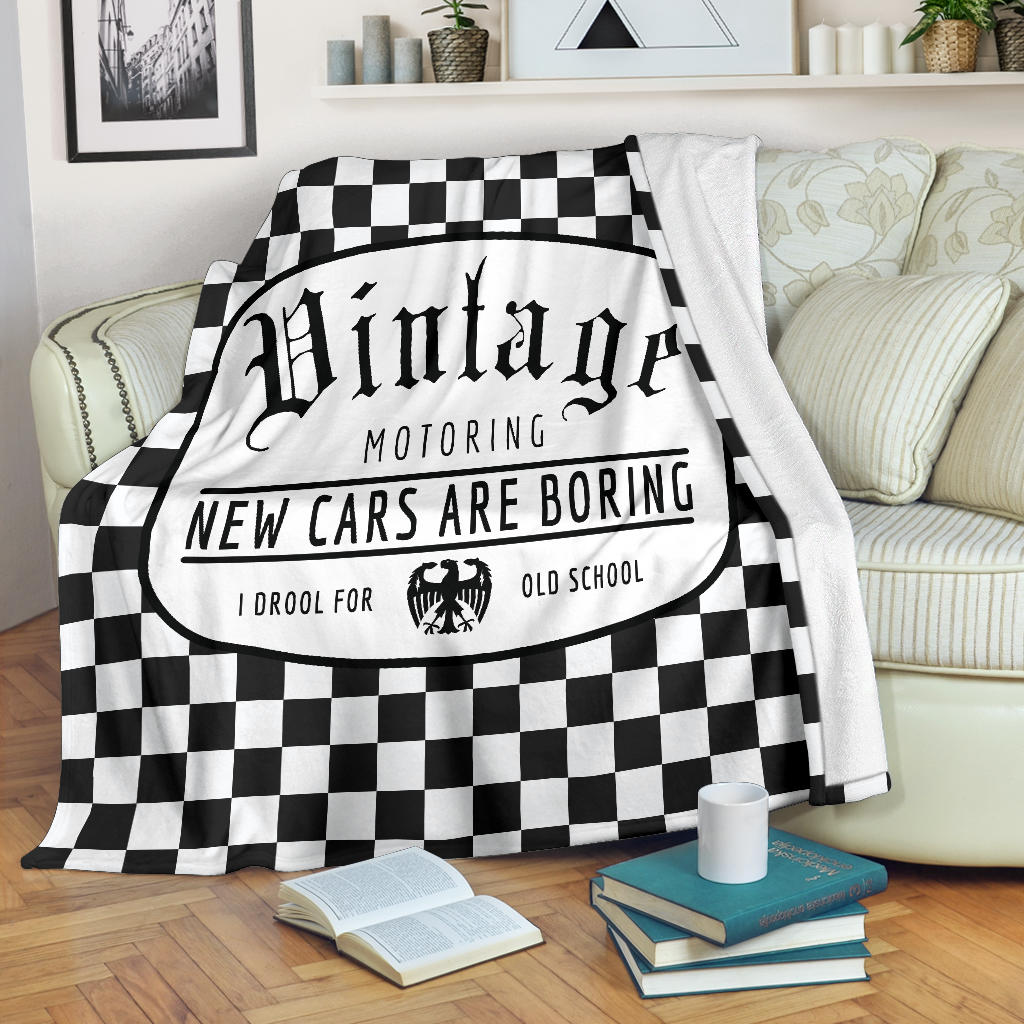 Vintage Motoring Checkered Fleece Blanket