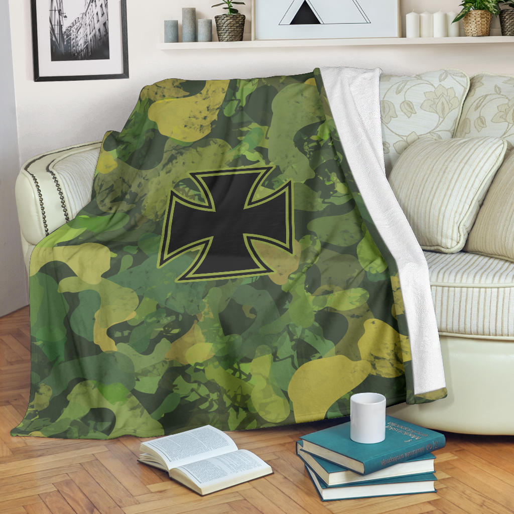 """Iron Cross Camo"" Fleece Blanket"