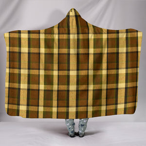 Retro Brown Plaid Hooded Blanket