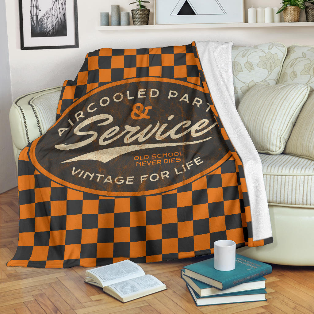 Aircooled Car Parts & Service Orange Checkered Blanket