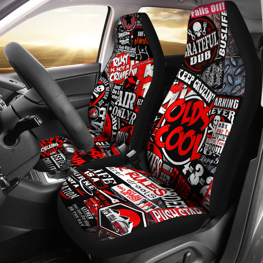 sticker bomb seat covers aircooled lifestyle. Black Bedroom Furniture Sets. Home Design Ideas