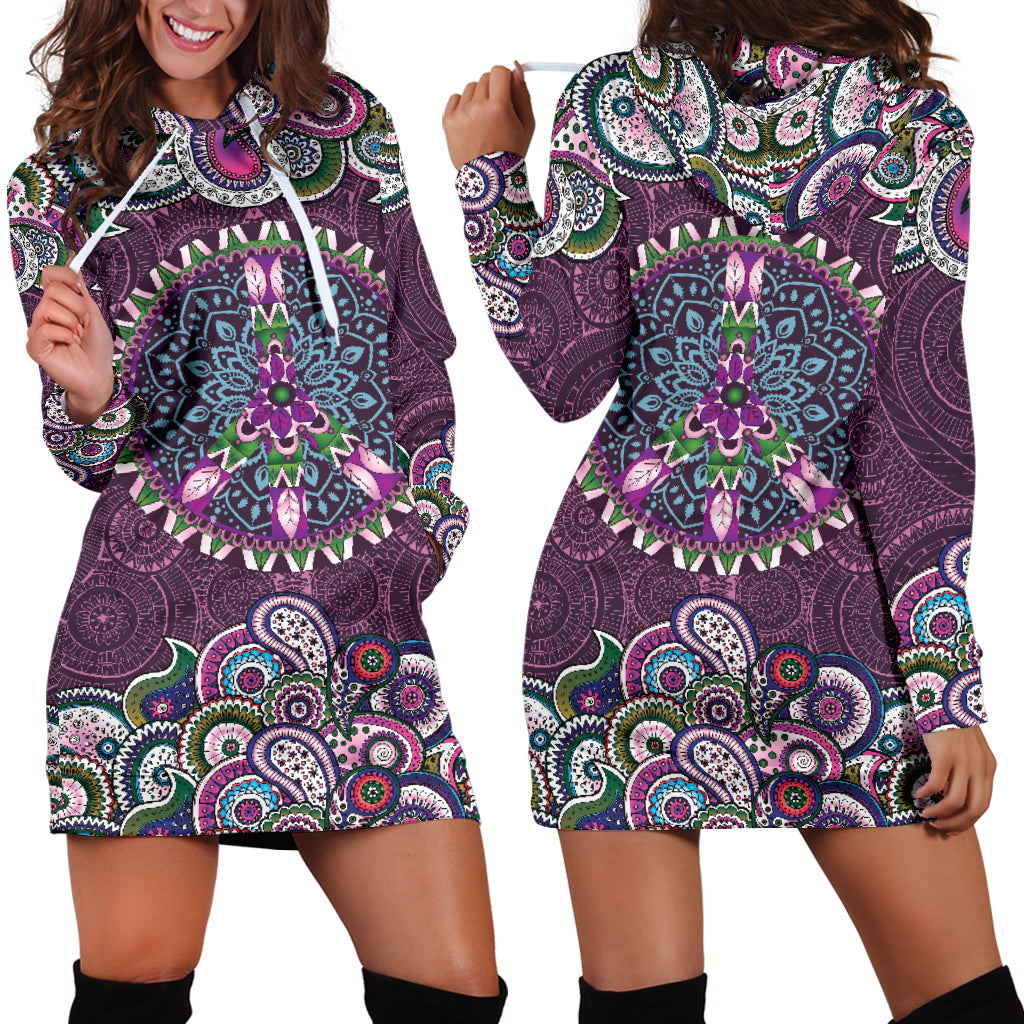 Purple Peace Mandala Hoodie Dress