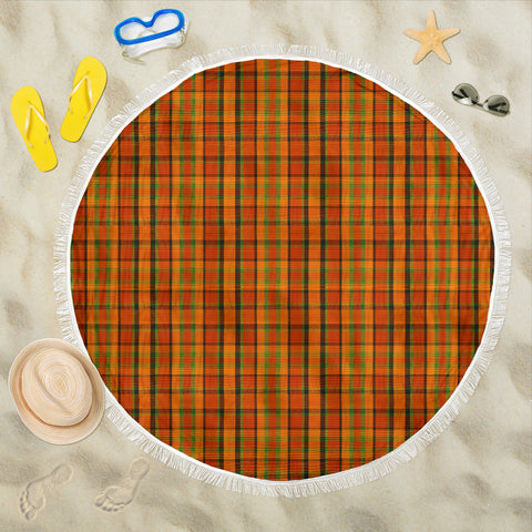 Retro Orange Plaid Beach Blanket