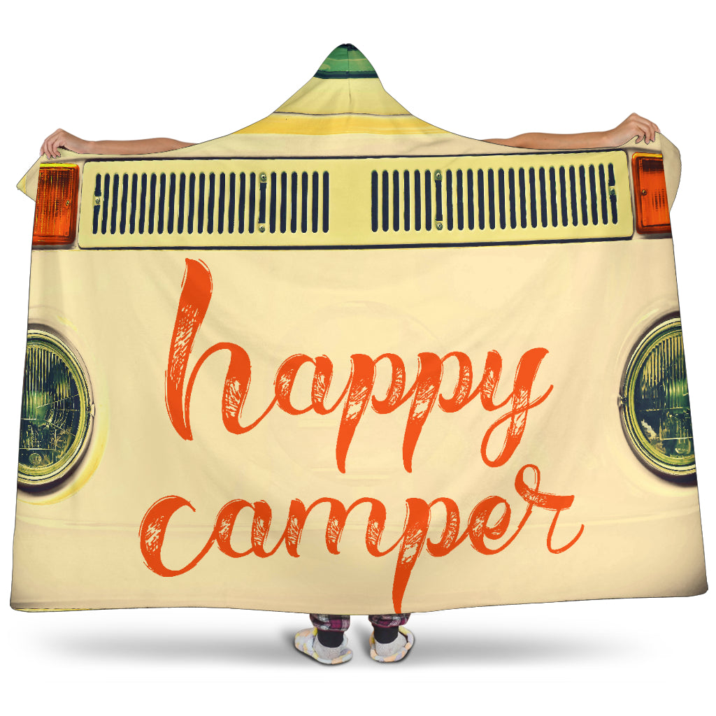 Happy Camper Creme Hooded Blanket