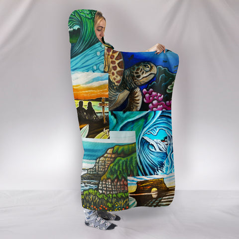 Surf Art Collage Hooded Blanket