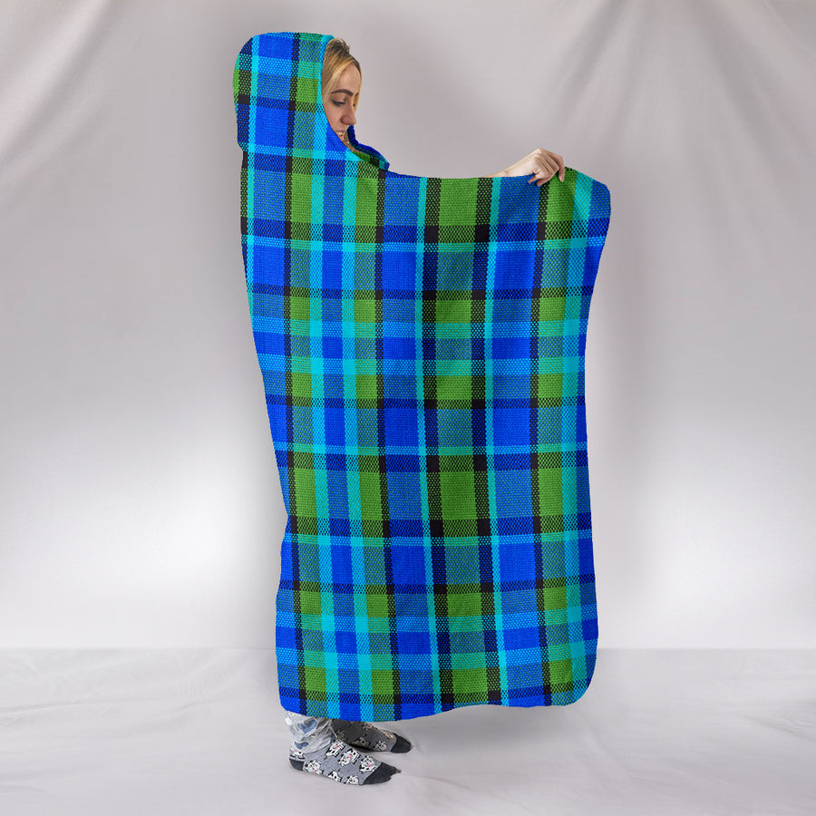 Retro Blue Plaid Hooded Blanket