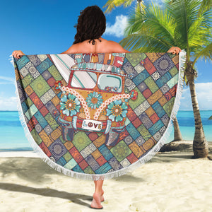 Peace & Love Bus Beach Blanket