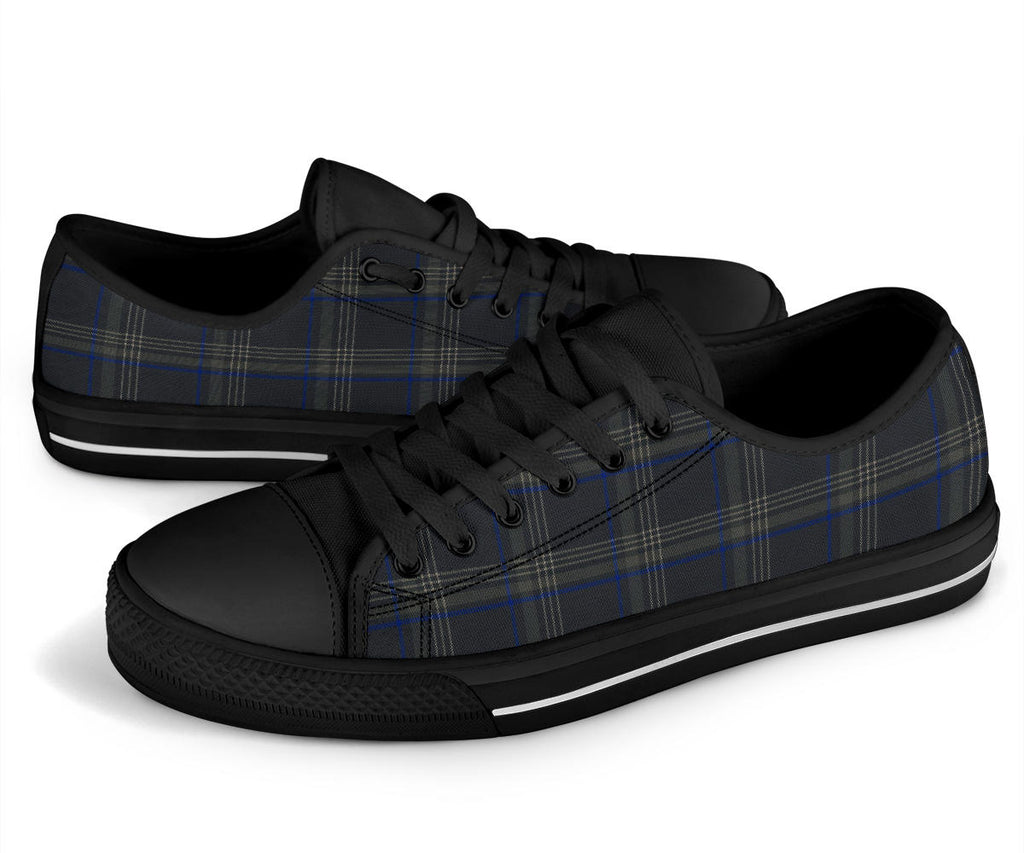 MK& Tartan Plaid Blue & Black Low Tops