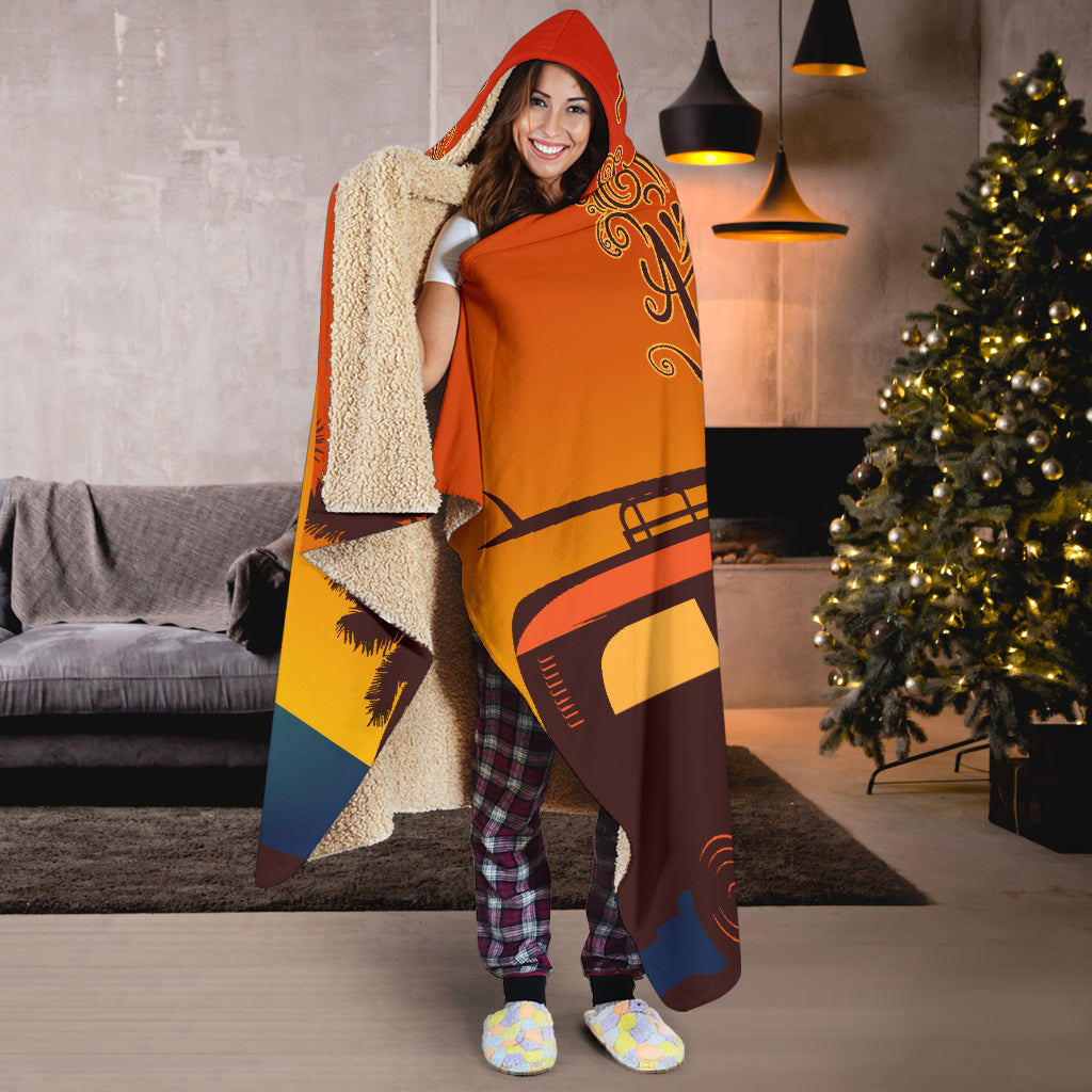 Time For a New Adventure Hooded Blanket