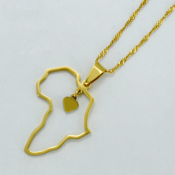 Africa Heart Pendant Necklace - Always Poppin Shop