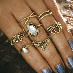Antique Lotus Midi Ring Set - Always Poppin Shop