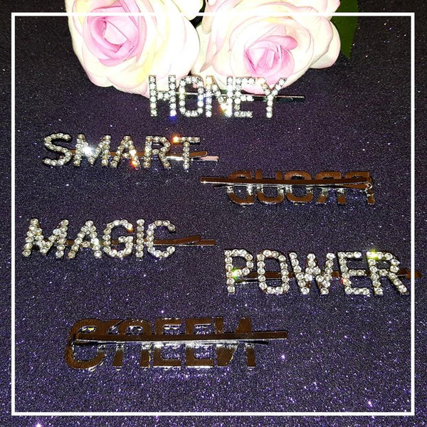 Crystal Word Hair Pins - Always Poppin Shop