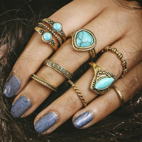 Natural Stone Midi Rings Set - Always Poppin Shop