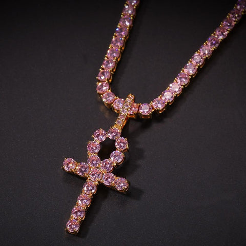 Pink Ice Ankh Necklace - Always Poppin Shop