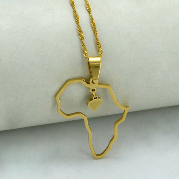 Africa Heart Pendant Necklace