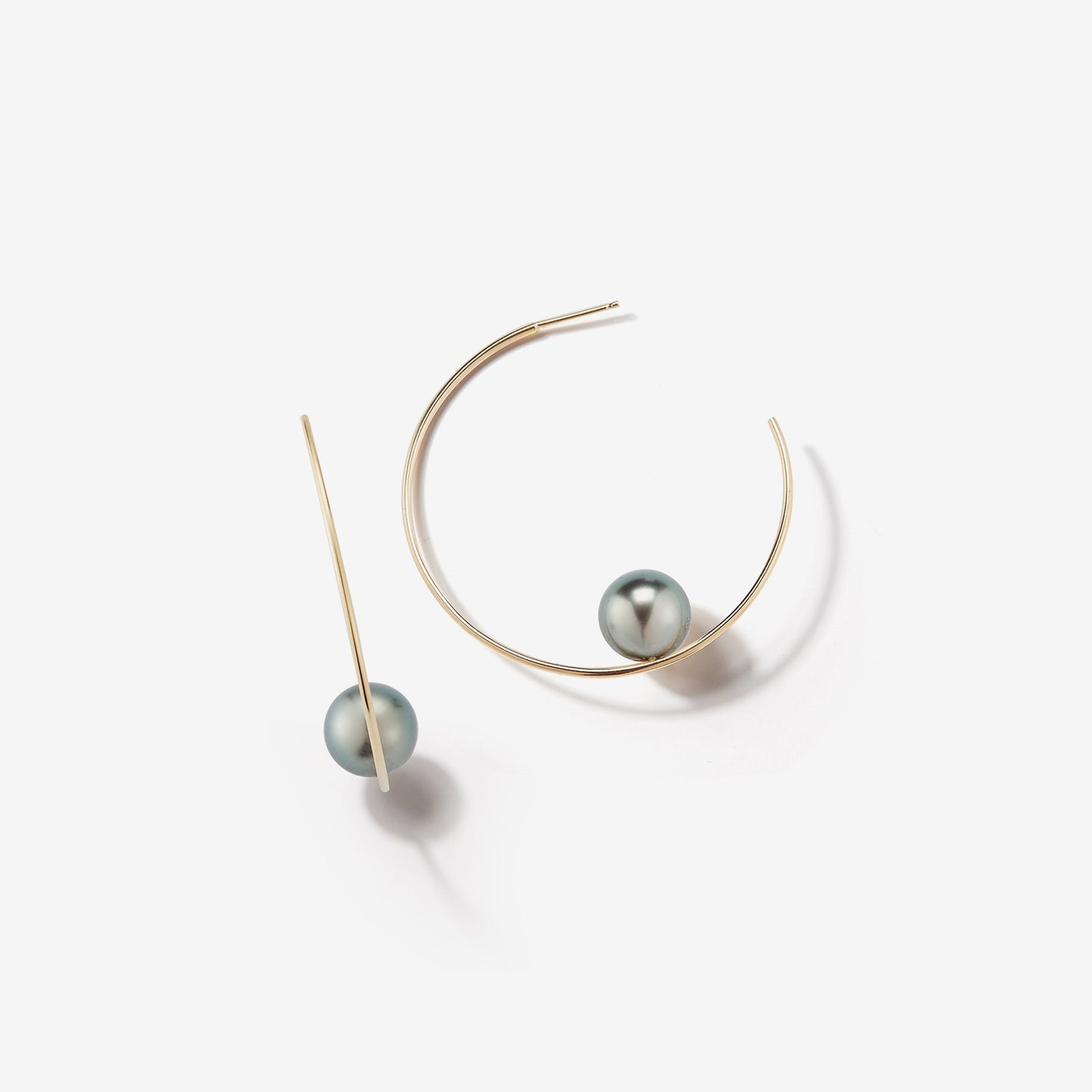 Sea of Beauty Collection.  Small Floating Black Pearl Hoop Earring