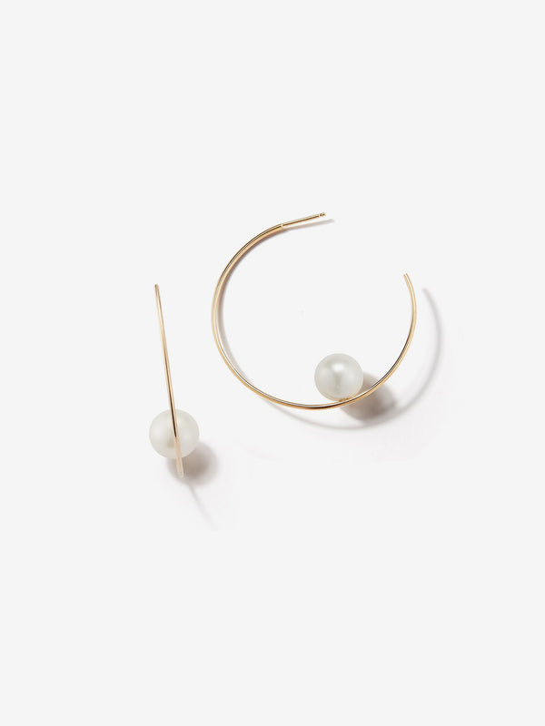 Sea of Beauty Collection.  Small Floating White Pearl Hoop Earrings  DSBE125W