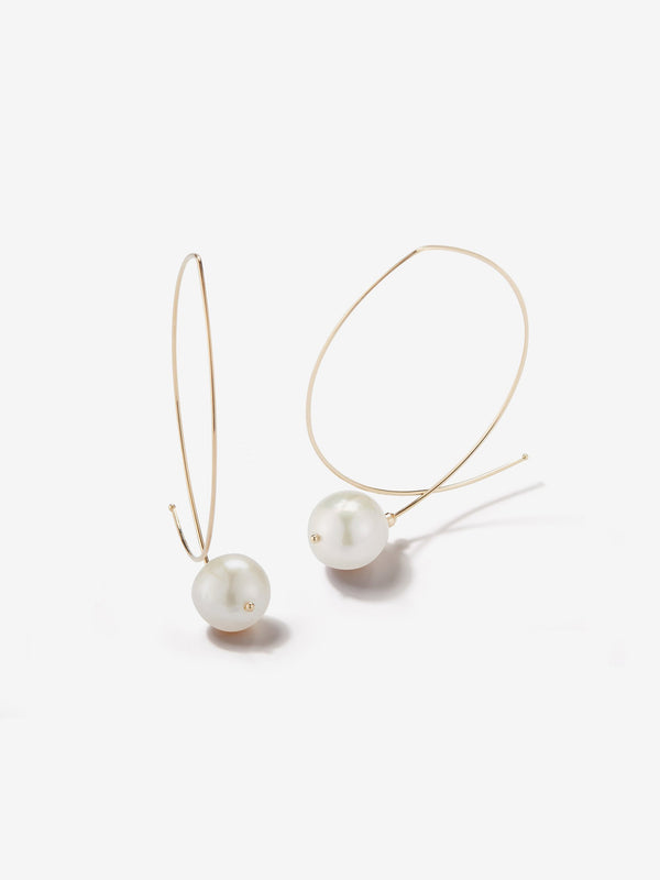 Sea of Beauty Collection.  Marquis with White Pearl Earrings  E4A1