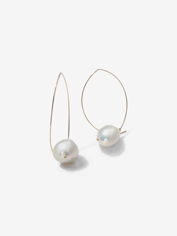 Sea of Beauty Collection.  Marquis with Baroque White Pearl Earrings  E4A2