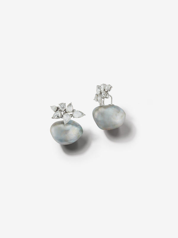 Prive Collection.  One Of A Kind.  Horizon Earrings.  Baroque Pearl and Rose Cut Diamond  MP57