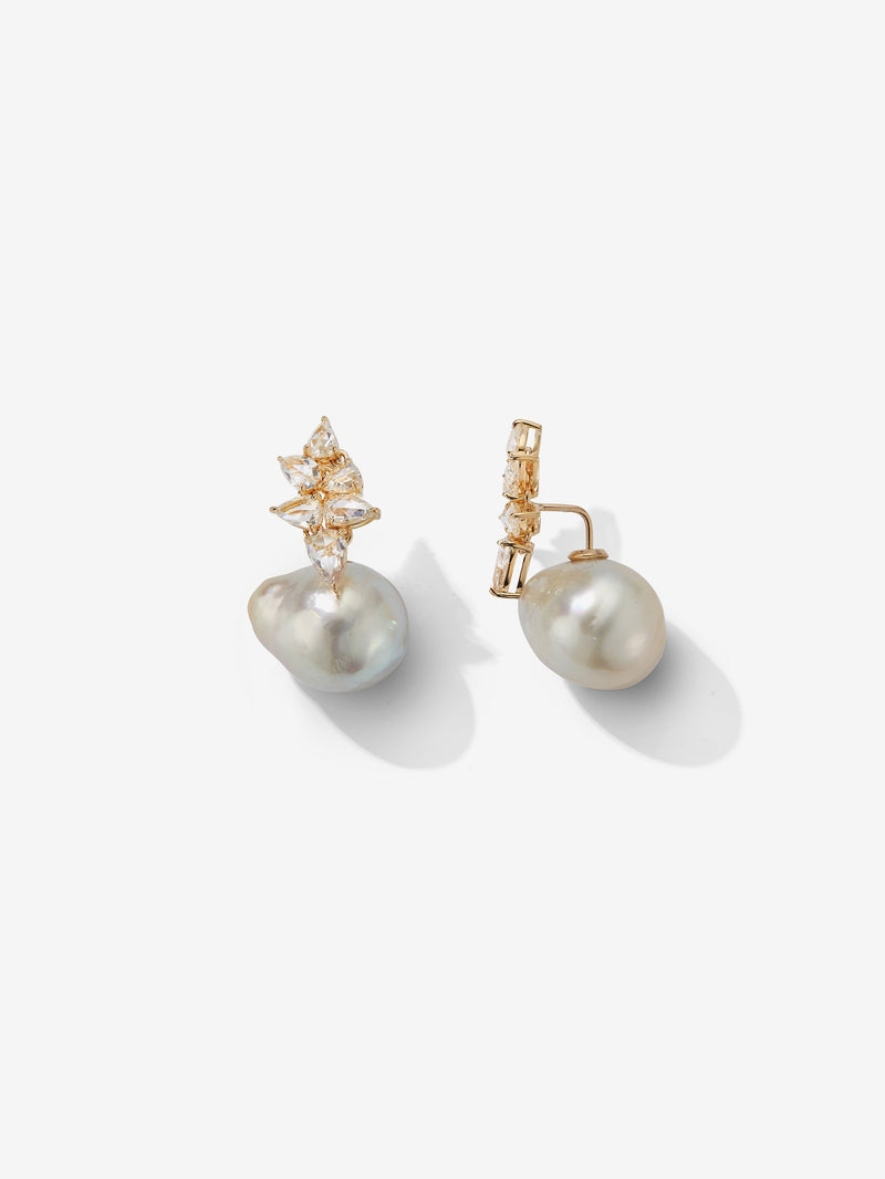 Prive Collection.  One Of A Kind.  Horizon Earrings.  Baroque Pearl and Rose Cut Diamond  MP58B
