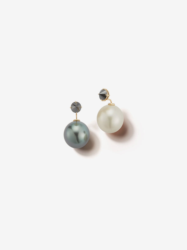 Prive Collection.  One Of A Kind.  Horizon Earrings.  Pearl and Black Diamond  MP64