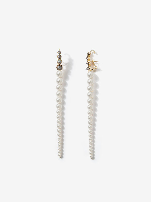 Prive Collection.  One Of A Kind.  Pearl and Black Diamond Earrings MP74