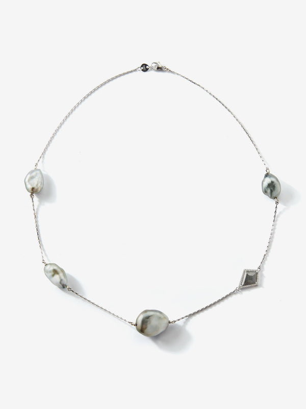 Prive Collection.  One Of A Kind.  Pearl and Slice Diamond Necklace MP80