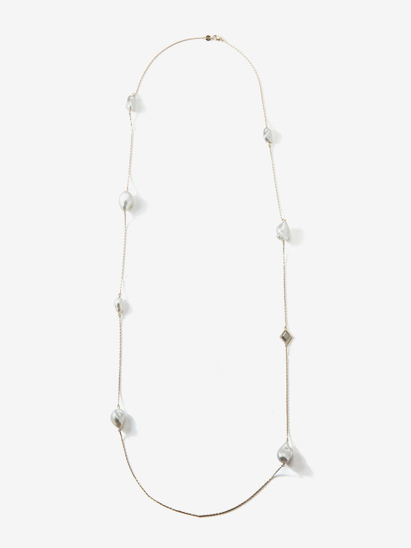 Prive Collection.  One Of A Kind.  Pearl and Slice Diamond Necklace MP83