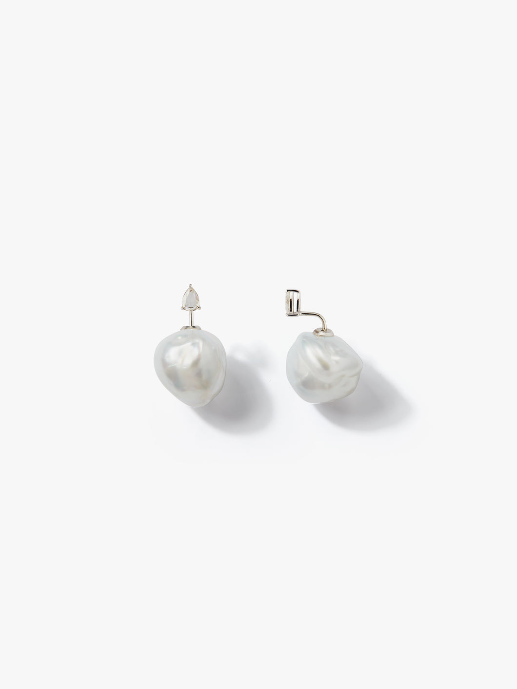 Prive Collection.  One Of A Kind.  Horizon Earrings.  Baroque Pearl and Diamond  MP84