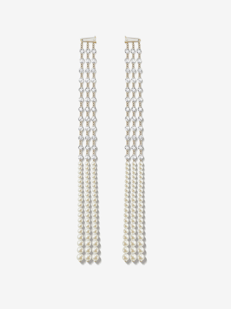 Prive Collection.  One Of A Kind.  Shoulder Duster Earrings.  Pearl and Diamond  MP88S