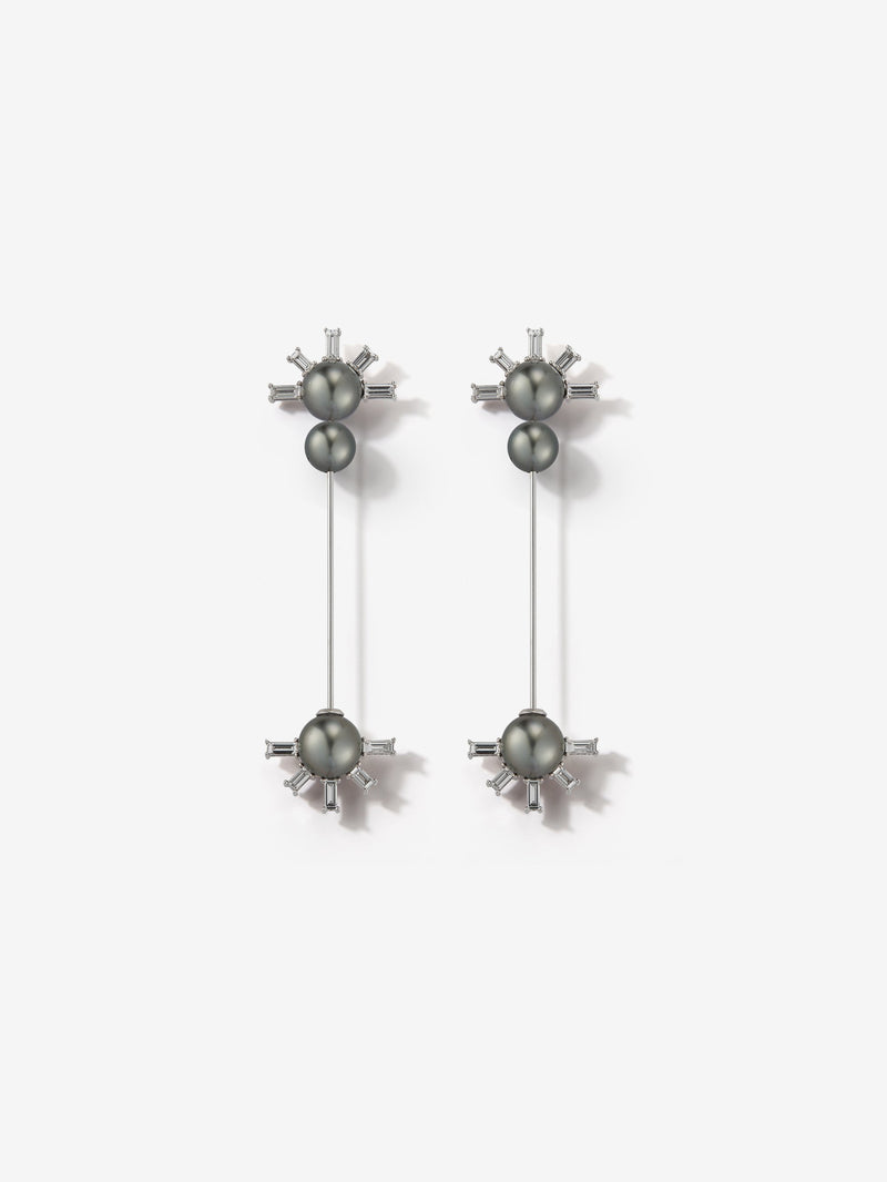 Prive Collection.  One Of A Kind.  Kanzashi Earrings.  Pearl and Diamond MP91