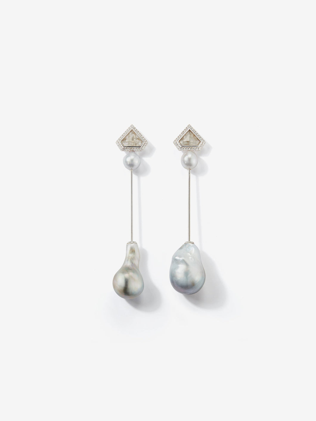 Prive Collection.  One Of A Kind.  Kanzashi Earrings.  Baroque Pearls and Slice Diamonds MP92