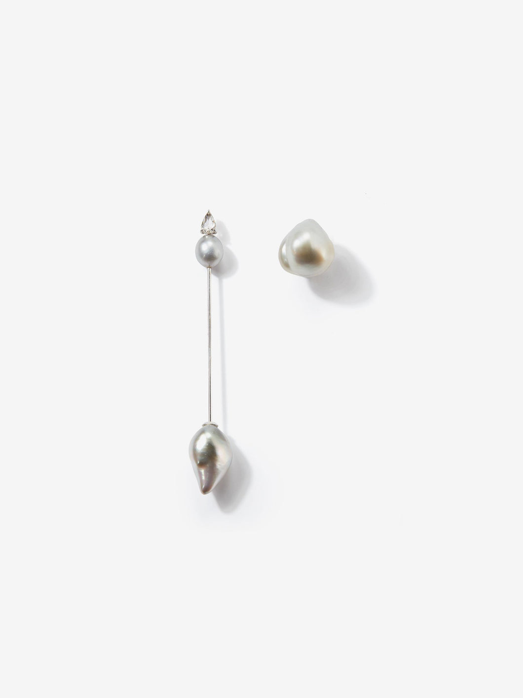 Prive Collection.  One Of A Kind.  Kanzashi Earring with Stud.  Baroque Pearl and Diamond MP94