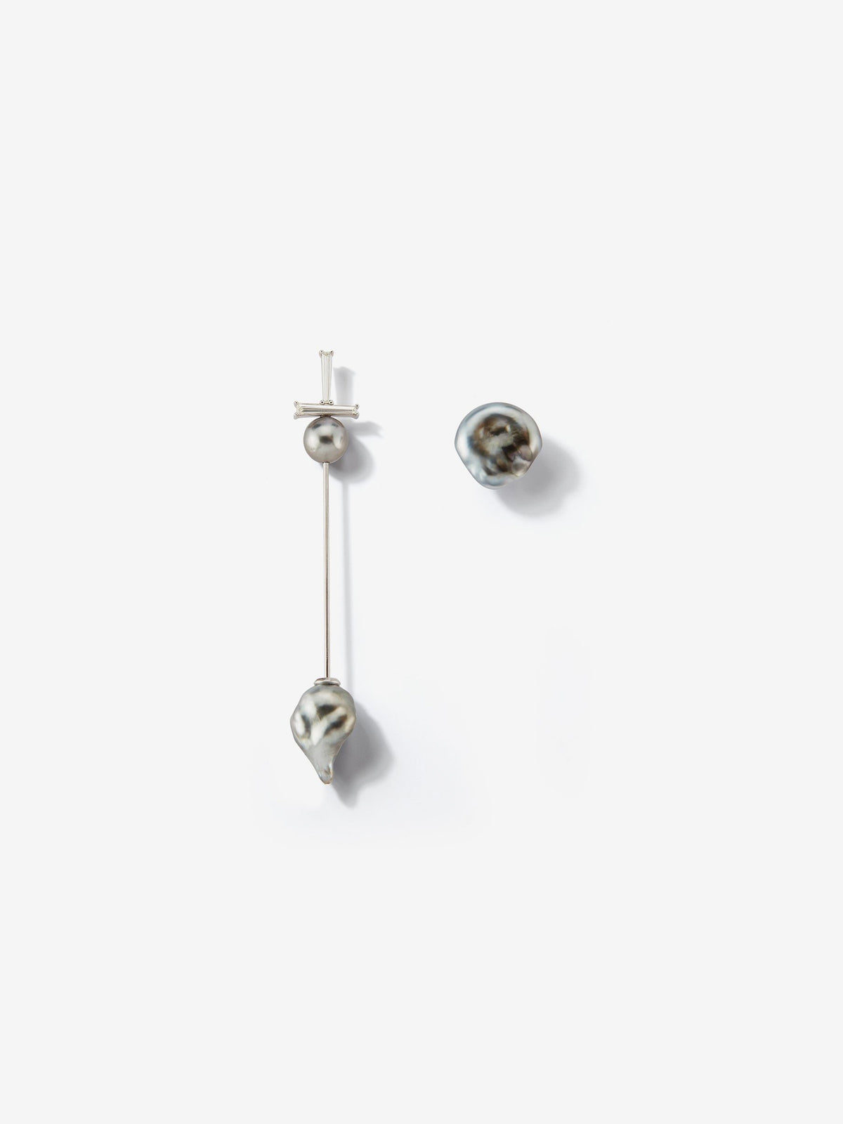 Prive Collection.  One Of A Kind.  Kanzashi Earring with Stud.  Baroque Pearl and Diamond MP95