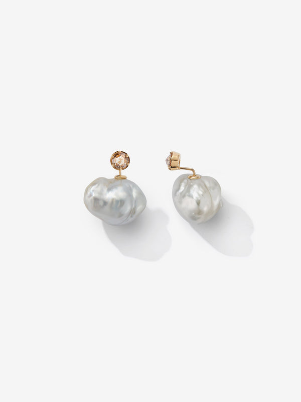 Prive Collection.  One Of A Kind.  Horizon Earrings.  Baroque Pearl and Diamond  MP98