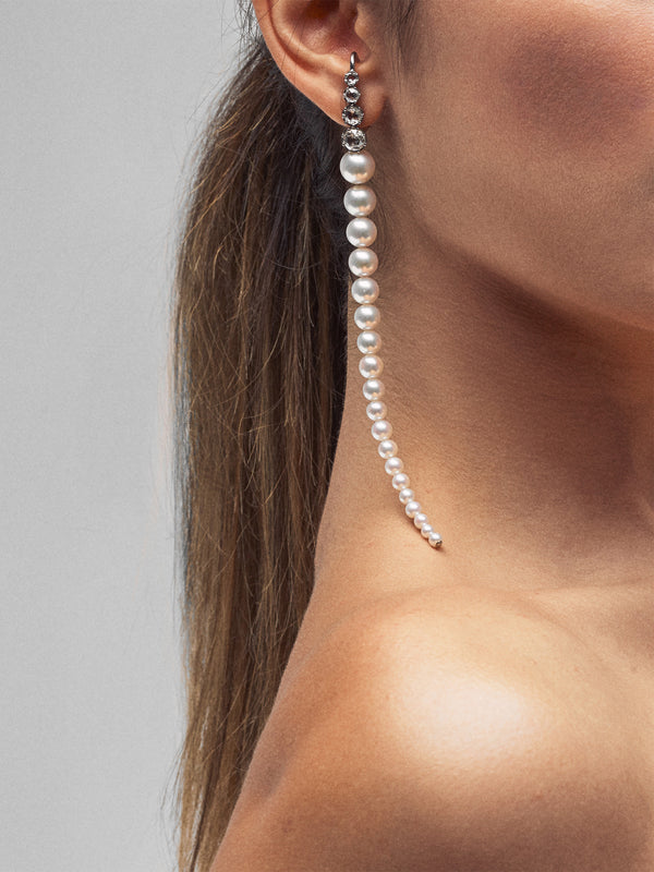 Prive Collection.  One Of A Kind.  Pearl and Diamond Earrings MP72