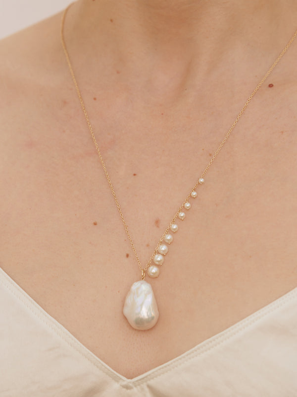 Pearl Fringe with Large Baroque Pearl Drop Necklace SBN230