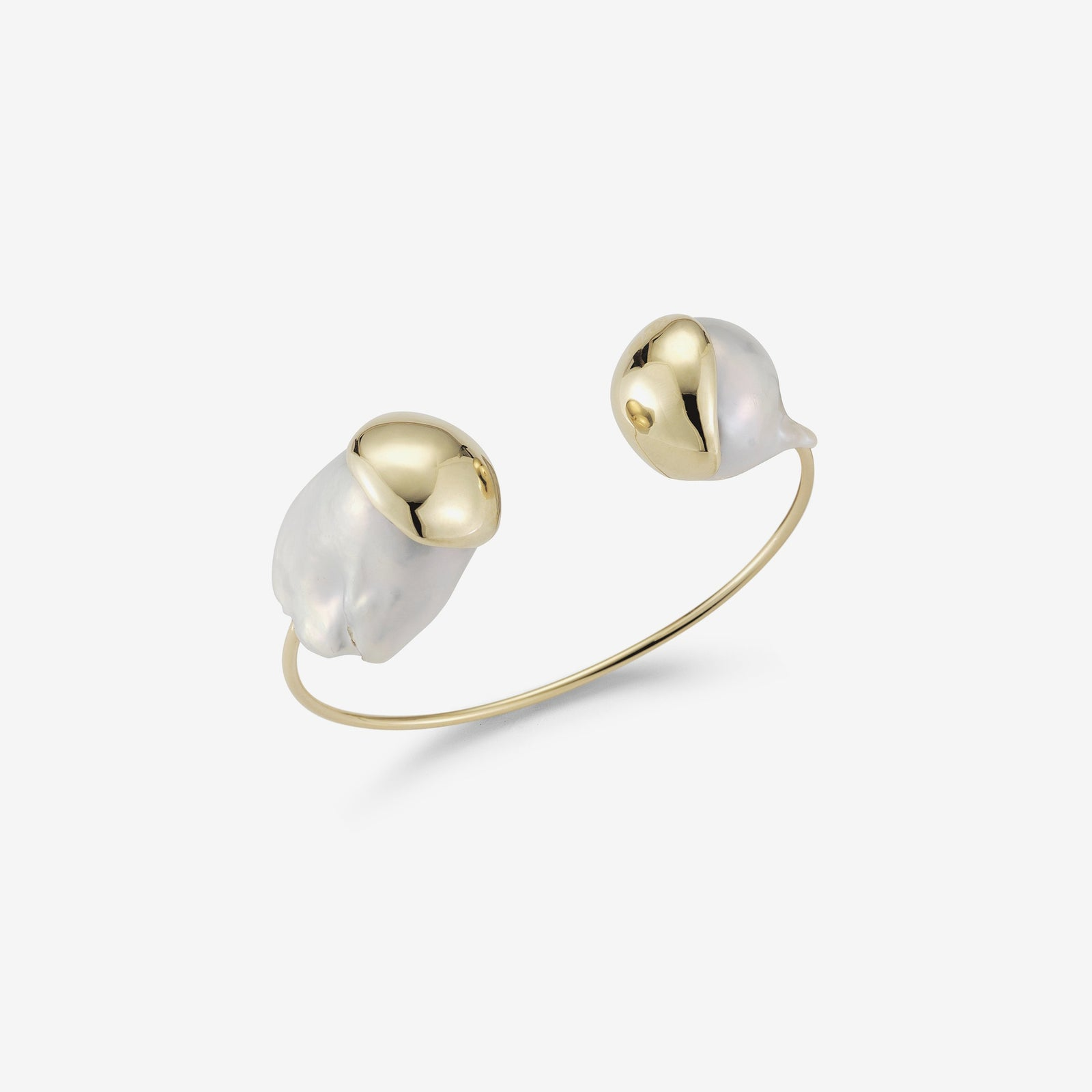 Sea of Beauty Collection.  Double Baroque White Pearl Fluid Gold Cuff