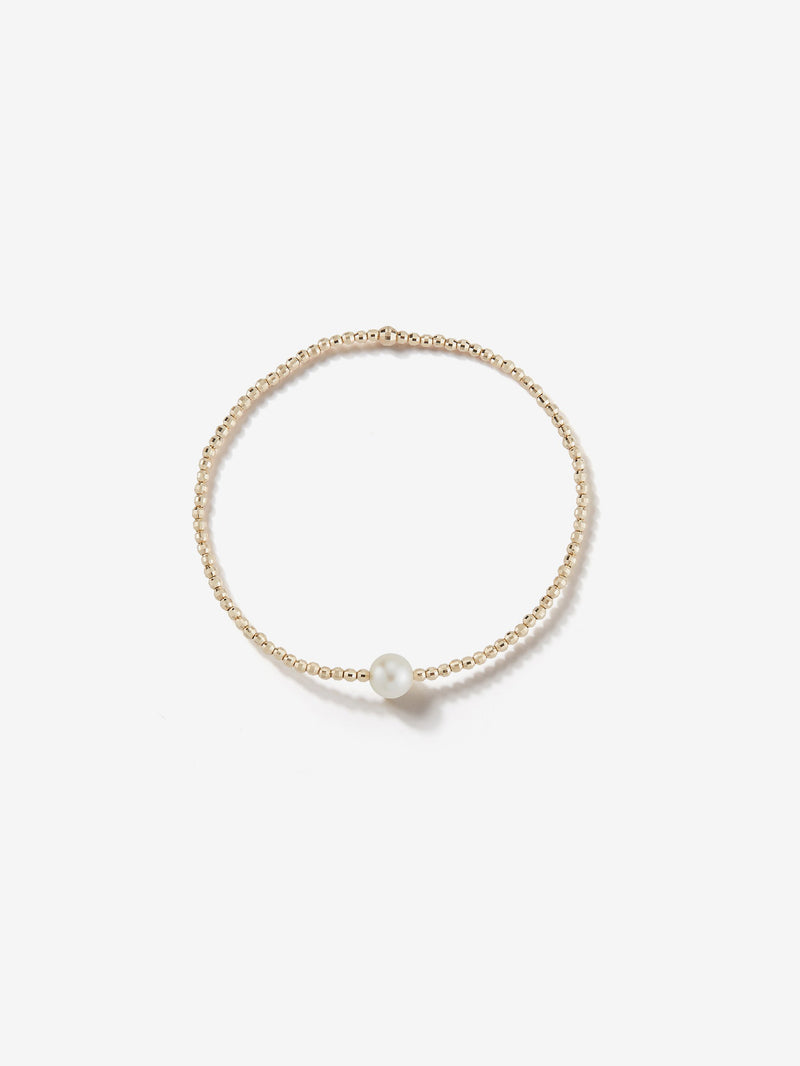 Sea of Beauty Collection.  Single Pearl and Gold Bead Stretchy Bracelet  SBA77